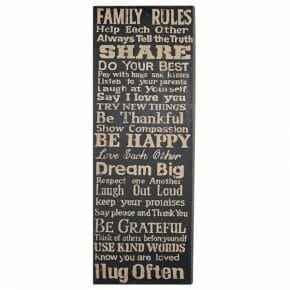 Sisustustaulu Family rules